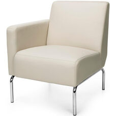 Triumph Right Arm Modular Lounge Chair with Vinyl Seat and Chrome Feet - Cream
