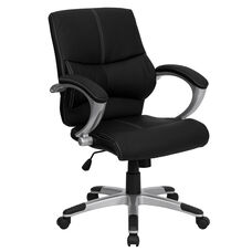 Mid-Back Black Leather Contemporary Swivel Manager