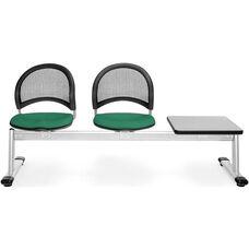Moon 3-Beam Seating with 2 Shamrock Green Fabric Seats and 1 Table - Gray Nebula Finish