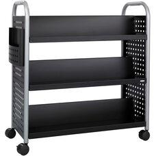 Scoot™ 41.25'' W x 17.75'' D Six Shelf Double Sided Book Cart - Black