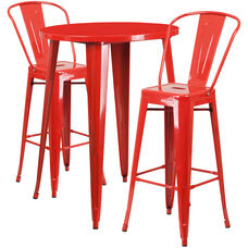 """Commercial Grade 30"""" Round Red Metal Indoor-Outdoor Bar Table Set with 2 Cafe Stools"""