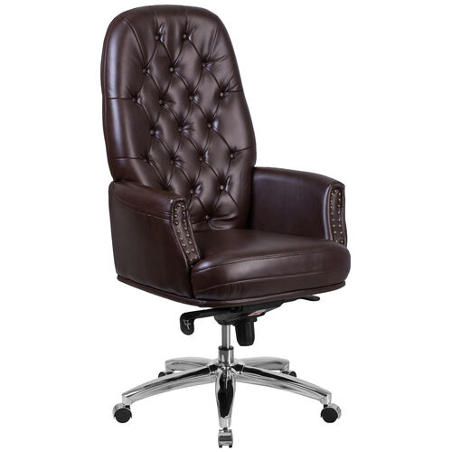 Our High Back Traditional Tufted Brown Leather Multifunction Executive Swivel Ergonomic Office Chair with Arms is on sale now.