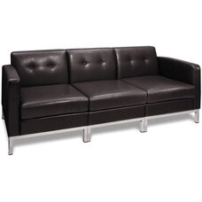 Ave Six Wall Street Faux Leather Modular Sofa with Chrome Finish Base - Espresso