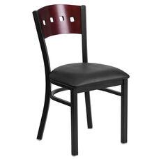 Black Decorative 4 Square Back Metal Restaurant Chair