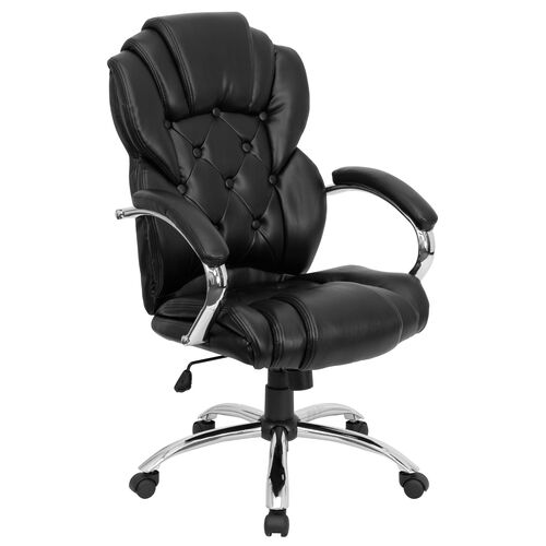 Our High Back Transitional Style Black LeatherSoft Executive Swivel Office Chair with Arms is on sale now.