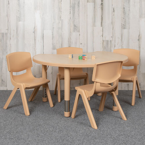 """25.125""""W x 35.5""""L Crescent Natural Plastic Height Adjustable Activity Table Set with 4 Chairs"""