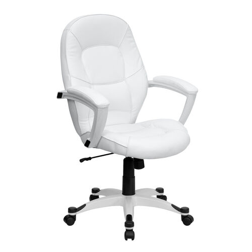 Mid-Back White LeatherSoft Tapered Back Executive Swivel Office Chair with White Base and Arms