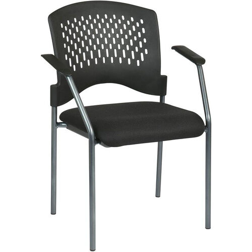 Our Pro-Line II Titanium Finish Visitors Stack Chair with Arms and Plastic Wrap Around Back - Black is on sale now.