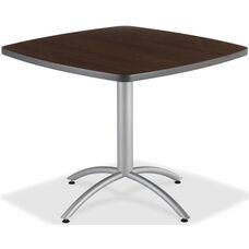 CafeWorks 42'' Square Powder Coated Steel Frame Melamine Cafe Table - Walnut