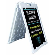 Universal Sidewalk A-Frame Sign Holder with Deluxe Black Chalkboard - White - 27