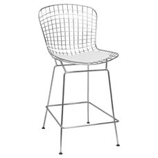 Chrome Wire Counter Stool with White Seat Pad