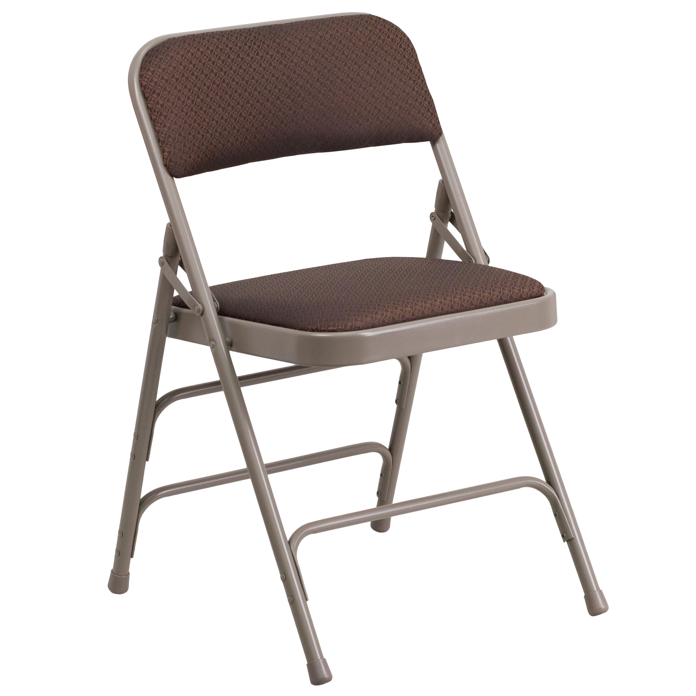 HERCULES Series Curved Triple Braced U0026 Double Hinged Brown Patterned Fabric Metal  Folding Chair