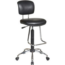 Work Smart Chrome Finish Economical Armless Chair with Chrome Teardrop Footrest - Black