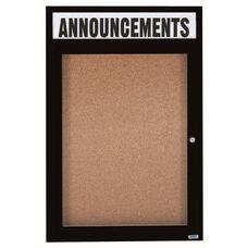 1 Door Indoor Illuminated Enclosed Bulletin Board with Header and Black Powder Coated Aluminum Frame - 48