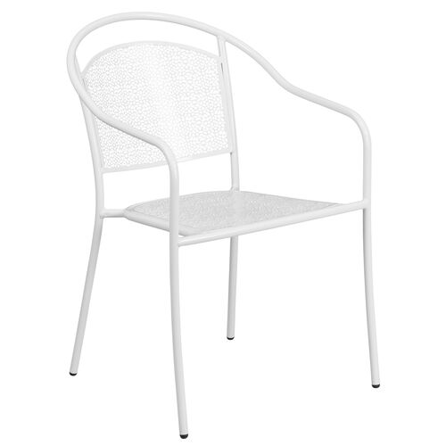 Our White Indoor-Outdoor Steel Patio Arm Chair with Round Back is on sale now.