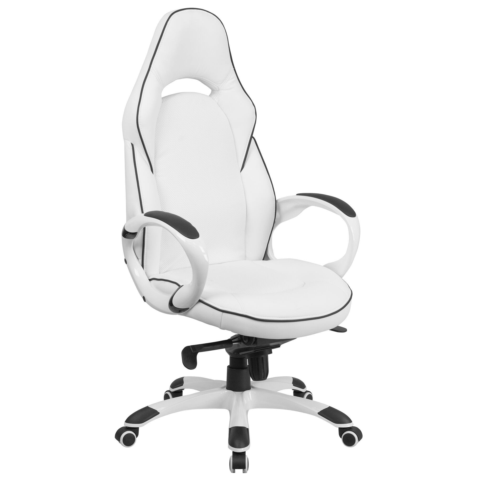 Superb High Back White Vinyl Executive Swivel Office Chair With Black Trim And Arms Onthecornerstone Fun Painted Chair Ideas Images Onthecornerstoneorg