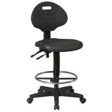 Work Smart Intermediate Ergonomic Drafting Chair with Adjustable Footrest and Seat Tilt - Black