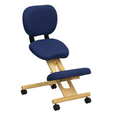 Mobile Wooden Ergonomic Kneeling Posture Chair with Reclining Back in Navy Blue Fabric