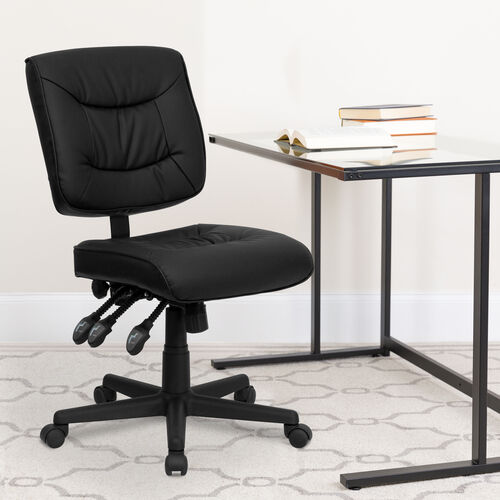 Our Mid-Back Black LeatherSoft Multifunction Swivel Ergonomic Task Office Chair is on sale now.