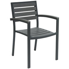 Eveleen Aluminum Outdoor Arm Chair with Polymer Seat and Back - Dark Grey