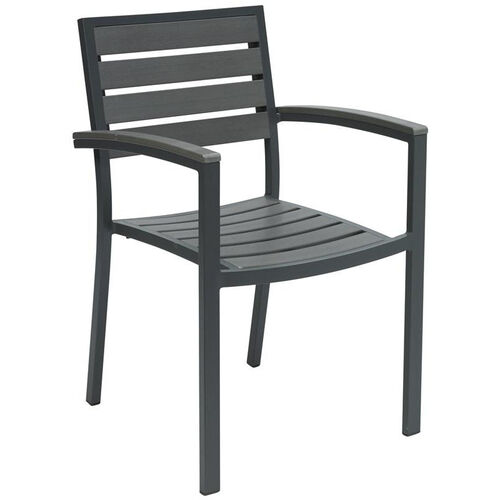 Our Eveleen Aluminum Outdoor Arm Chair with Polymer Seat and Back - Dark Grey is on sale now.