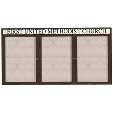 3 Door Outdoor Enclosed Bulletin Board with Header and Bronze Anodized Aluminum Frame - 36