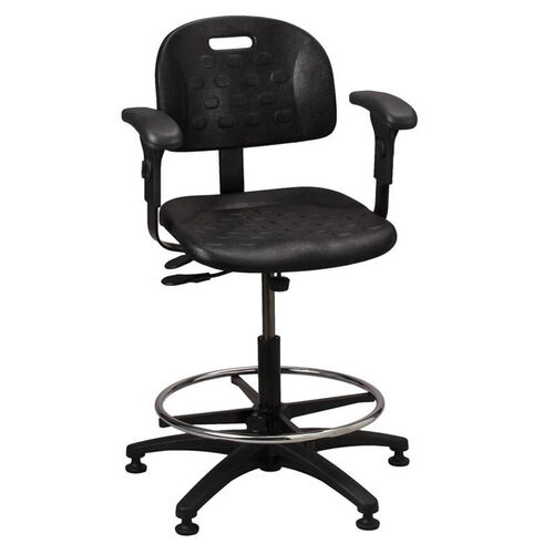 Industrial Specialty Black Polyurethane ABS Base Task Chair with Glides, Footring, and Adjustable Armrests
