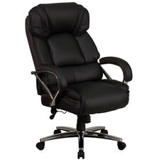 HERCULES Series Big & Tall 500 lb. Rated Black LeatherSoft Executive Swivel Ergonomic Office Chair with Chrome Base and Arms