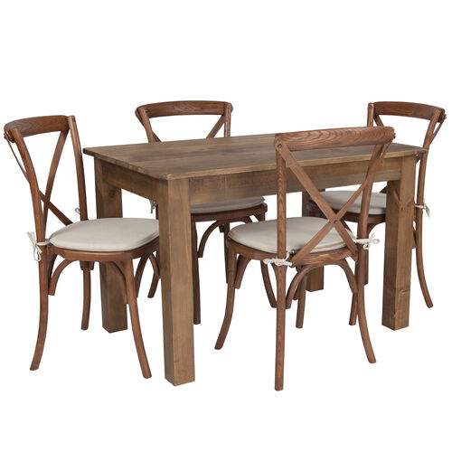 """Our 46"""" x 30"""" Antique Rustic Farm Table Set with 4 Cross Back Chairs and Cushions is on sale now."""