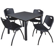 Kee 36'' Square Laminate Breakroom Table with 4 ''M'' Stack Chairs - Gray Table Finish with Black Legs and Black Chairs