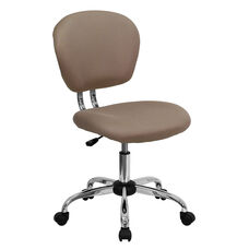 Mid-Back Coffee Brown Mesh Swivel Task Chair with Chrome Base