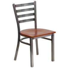 Clear Coated Ladder Back Metal Restaurant Chair with Cherry Wood Seat
