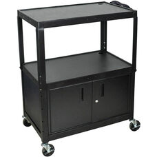 Extra Large Adjustable Height Steel A/V Cart with Locking Cabinet - Black - 32