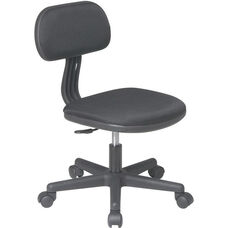 OSP Designs Armless Computer Task Chair with Seat Height Adjustment and Casters - Black