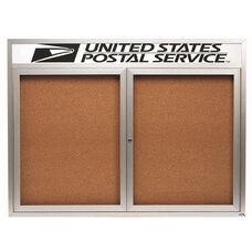 2 Door Indoor Illuminated Enclosed Bulletin Board with Header and Aluminum Frame - 36