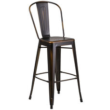 """Commercial Grade 30"""" High Distressed Copper Metal Indoor-Outdoor Barstool with Back"""