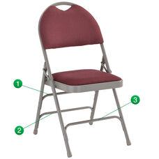 HERCULES Series Ultra-Premium Triple Braced Burgundy Fabric Metal Folding Chair with Easy-Carry Handle