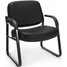Big & Tall Guest and Reception Vinyl Chair with Arms - Black