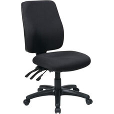 Work Smart High Back Dual Function Ergonomic Chair with Ratchet Back Height Adjustment - Black