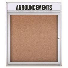 1 Door Indoor Enclosed Bulletin Board with Header and Aluminum Frame - 36