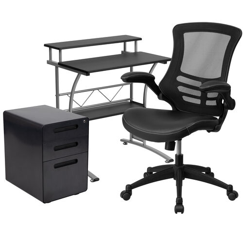 Our Work From Home Kit - Black Computer Desk, Ergonomic Mesh/LeatherSoft Office Chair and Locking Mobile Filing Cabinet is on sale now.