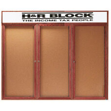 3 Door Enclosed Bulletin Board with Header and Cherry Finish - 48