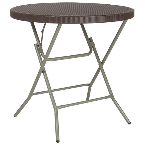 Our 2.6-Foot Round Brown Rattan Plastic Folding Table is on sale now.