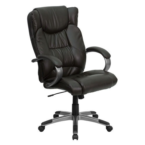 Our High Back Espresso Brown Leather Executive Swivel Office Chair with Titanium Nylon Base and Loop Arms is on sale now.
