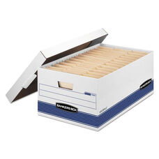 Bankers Box® STOR/FILE Storage Box - Legal - Locking Lid - White/Blue - 4/Carton