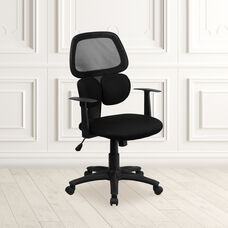 Mid-Back Black Mesh Swivel Task Office Chair with Flexible Dual Lumbar Support and Arms