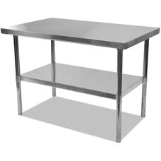 Alera® Rectangular Stainless Steel Table with Storage Shelf - 60''W x 30''D x 35''H - Silver