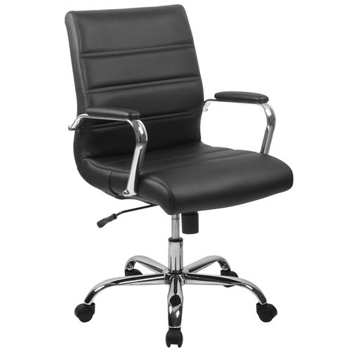 Our Mid-Back Black Leather Executive Swivel Office Chair with Chrome Base and Arms is on sale now.