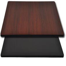"Advantage 30""x30"" Restaurant Table Top - Black / Mahogany Reversible"