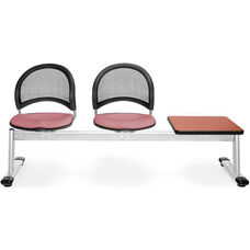 Moon 3-Beam Seating with 2 Coral Pink Fabric Seats and 1 Table - Cherry Finish